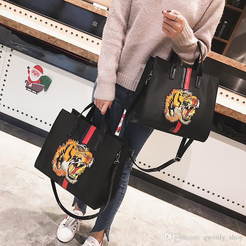 Fashion Tiger Head Embroidered Totes Bag Women Big Handbag Large Capacity Shoulder  Bag Crossbody Messenger Bag Womens Purses Women Bags From Qwonly shop 5d183bf2e876