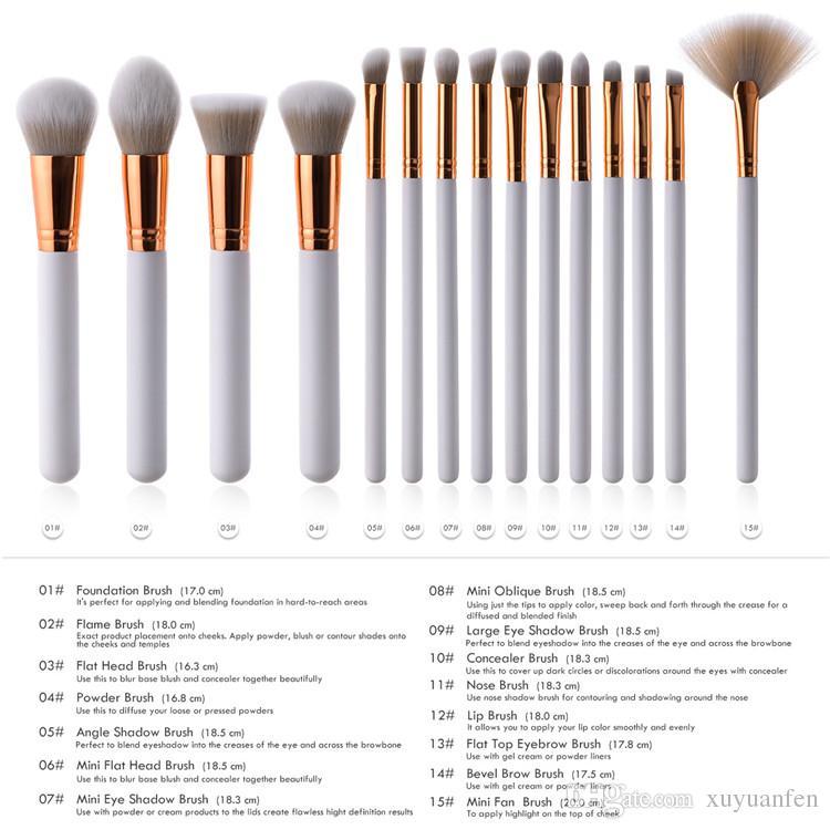 Maquillage Brush Set Blanc Fondation Blush Poudre Mélange Sourcils Cosmétique Make Up Brosses Fard À Paupières Fan Surligneur Brosse Outils