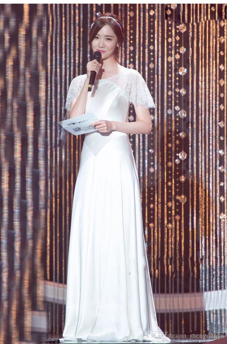 2019 agraciado / elegante ENVÍO GRATIS Marfil blanco Una línea de encaje Rhinestone Stretch satinado manga corta Vestidos de baile Vestidos de fiesta m67