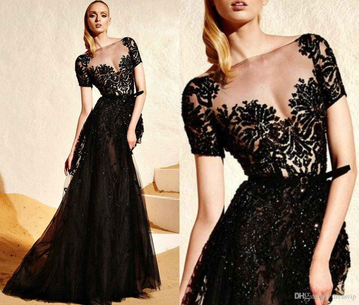 9958b19d31af4 2018 Zuhair Murad Evening Dresses Black Lace Applique Beaded Illusion Short  Sleeve Sexy Sweep Train Formal Dress Party Wear Prom Dress Plus Dresses  Plus ...