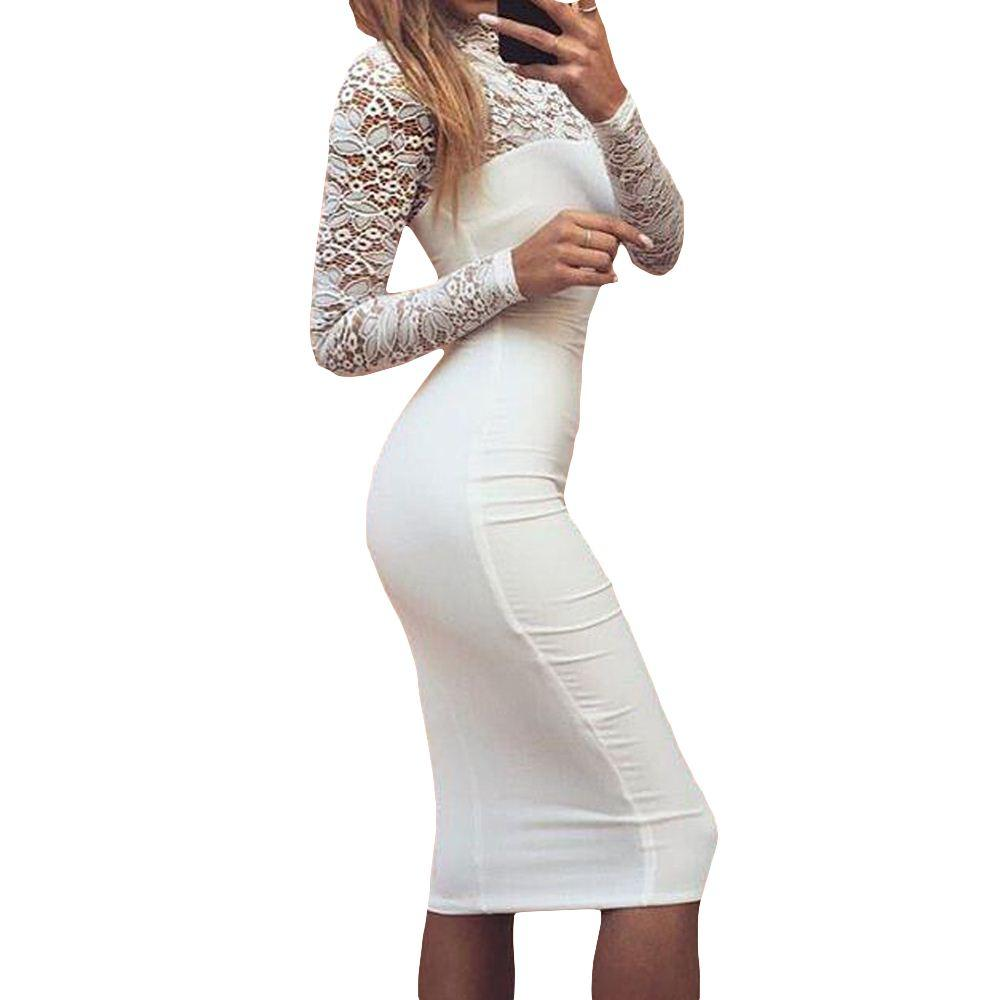2019 Sexy Women White Lace Dress New 2017 Winter Turtleneck Long Sleeve Red  Black Club Factory Bodycon Bandage Midi Party Dresses From Kepiwell8 c1a4ab580