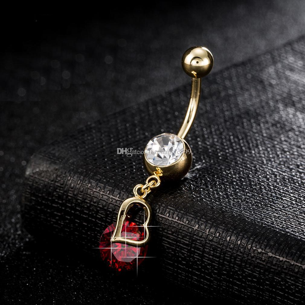 Women Body Jewelry Piercing Bell Button Rings Gold Color Stainless Steel Hollow Heart Round Zircon Pendant Navel Ring