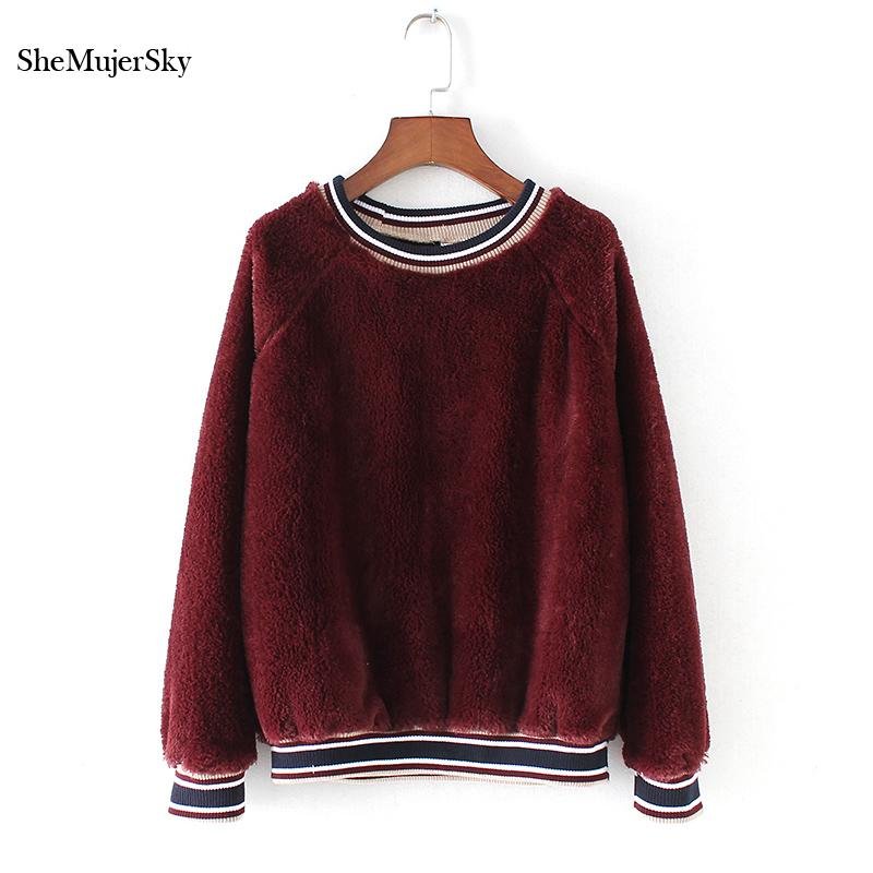 Sweat Trui Dames.2019 Shemujersky Red Velvet Hoodies Women Sweatshirt Black O Neck