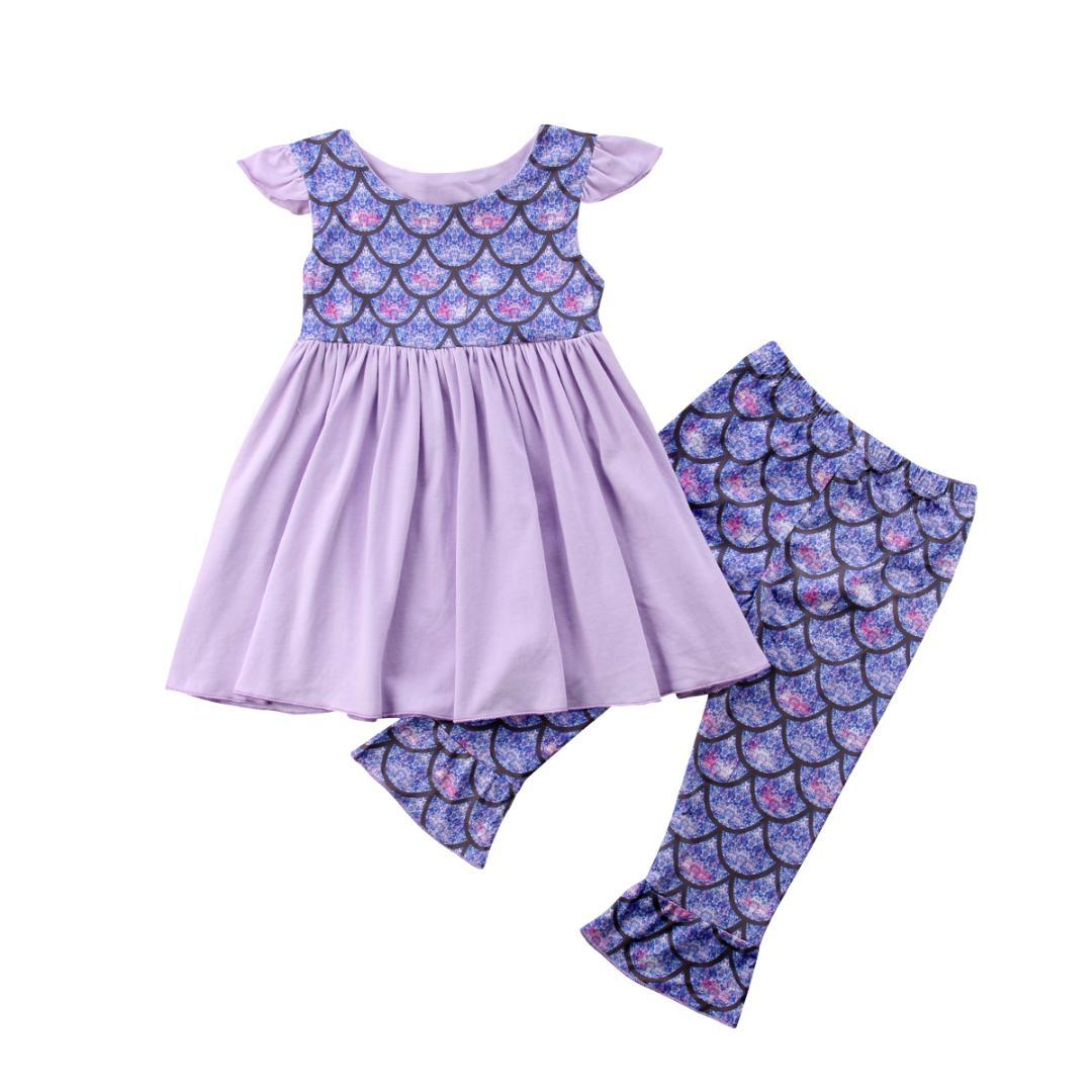 3231b4d0b754 2019 Newborn Kids Baby Girls Mermaid Fish Scales Tops Blouse + Pants  Leggings Outfits Set From Friendhi, $25.42 | DHgate.Com