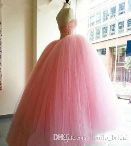 2019 Quinceanera vestidos vestido de baile querida até o chão vestidos de baile com contas de cristal de tule sem encosto doce 16 vestidos