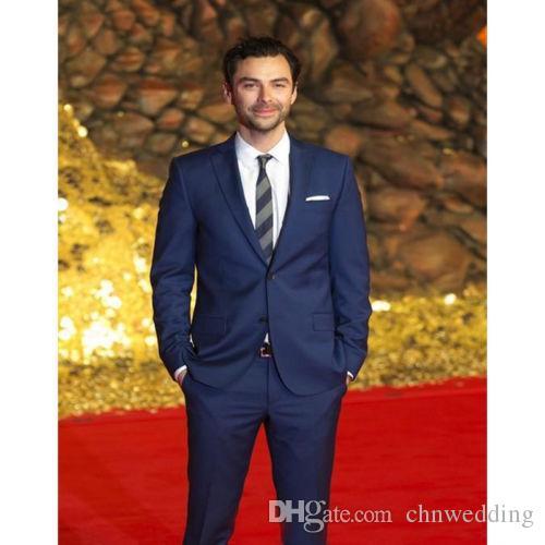 Özel Mavi Erkekler 2018 Düğün Ünlü Kırmızı Halı Suits İki Düğme Balo Suits Ceket + Pantolon Akşam parti