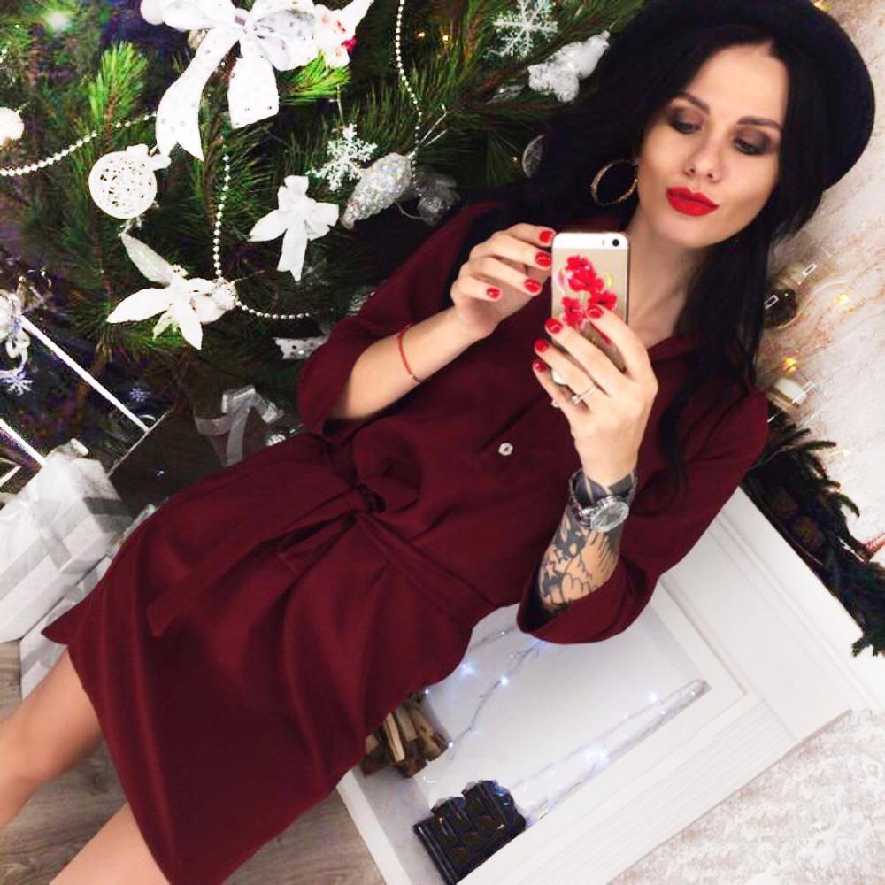 67ab7b74840d 2019 Women Spring 3 4 Sleeve Office Burgundy Navy Blue Shirt Dress 2018 New  Summer Casual Party Loose Belt Dresses Vestidos Plus Size From Begonier