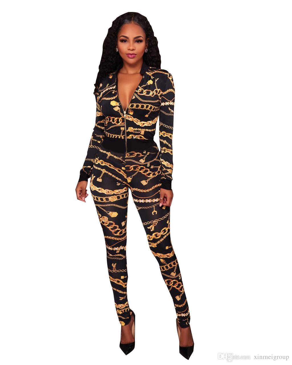 f51a6612e74b 2019 Gold Chain Printed Bodycon Jumpsuit For Women 2018 Autumn Deep ...