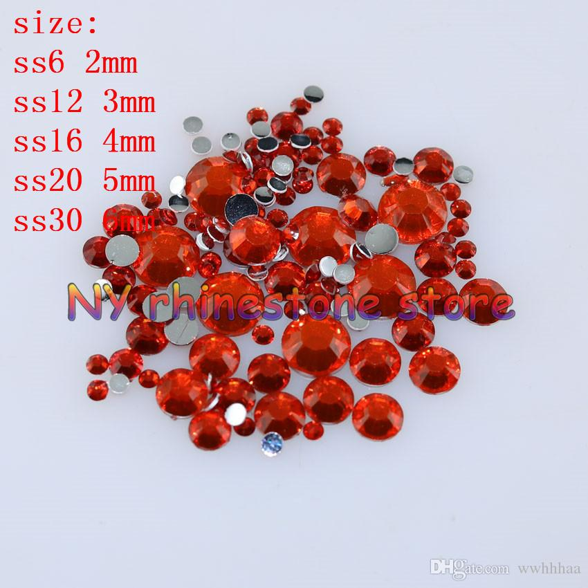 1000-10000 teile / beutel 2-6mm Orange rot Harz Kristall Strass Flatback Super Glitter Nail art Strass Hochzeit Dekoration Applique Nicht HotFix