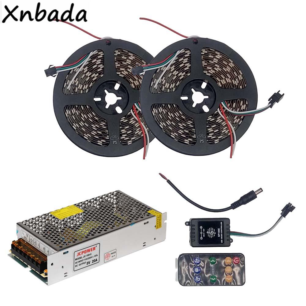 5m 10m Ws2812b Ws2812 Rgb Led Strip Light With Sp106e 9keys Remote Controller Pic12f675 Music Dc5v Power Supply Adapter Kit Marine Lights