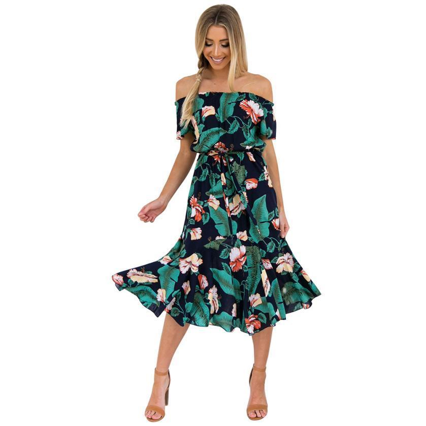 8a2a097134103 Women's Leaf Floral Printed Dress Summer Short Sleeve Off The Shoulder  Beach Sundress Yoke Frill Trim Bow Waist Boho Dress #10