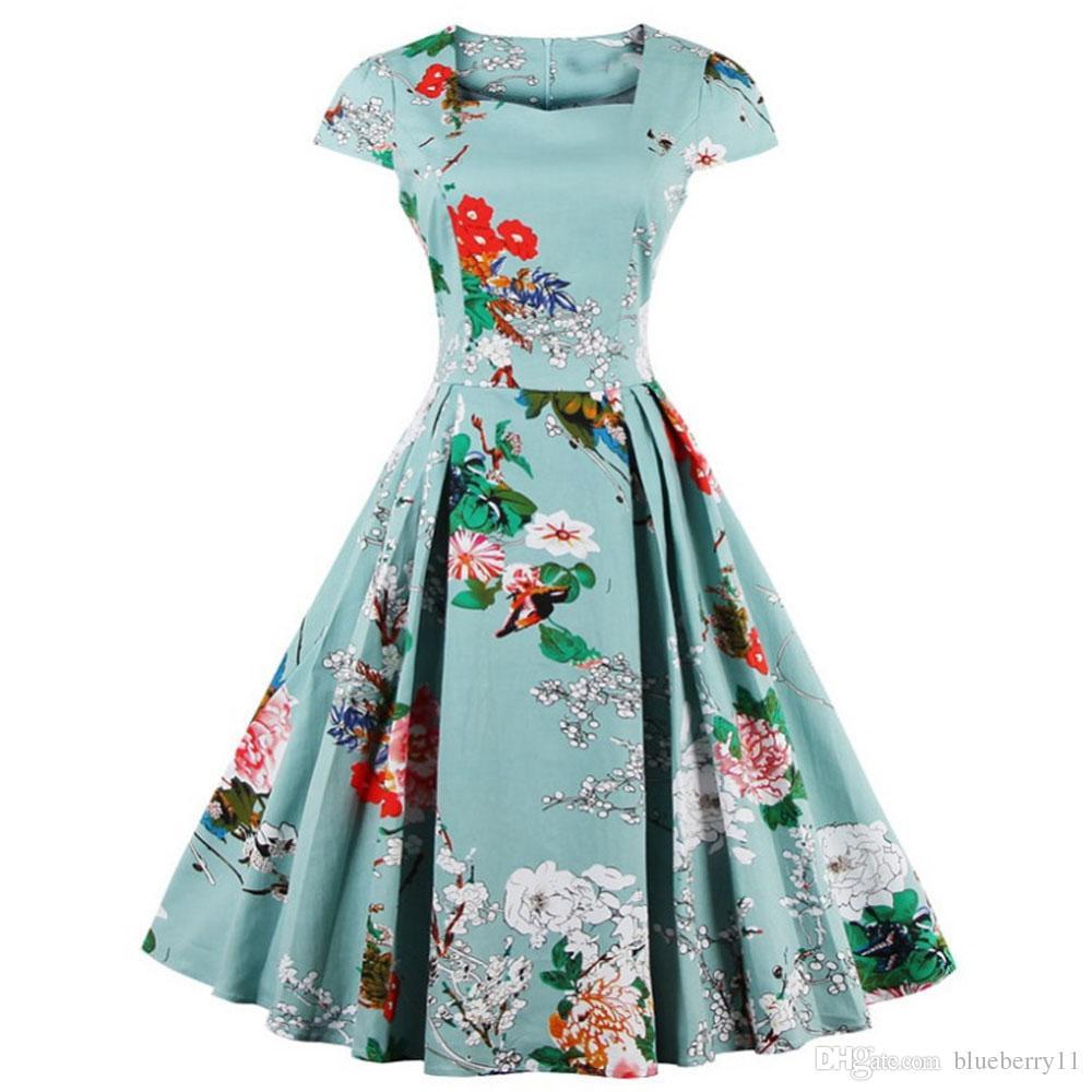 Summer Women Dresses Light Blue Audrey Hepburn 50s Vintage Flower Print Robe Feminino Ball Gown Party Retro Dress Vestidos plus size S-4XL