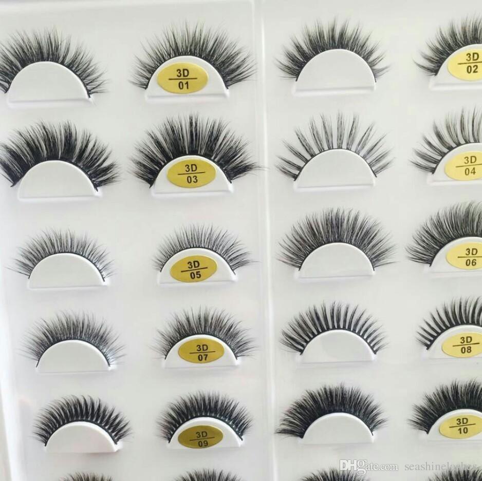Seashine Natural Visón pestañas falsas 10 par de pestañas largas de alta calidad 3D de seda falso ojo pestañas extensión precio de fábrica envío gratis