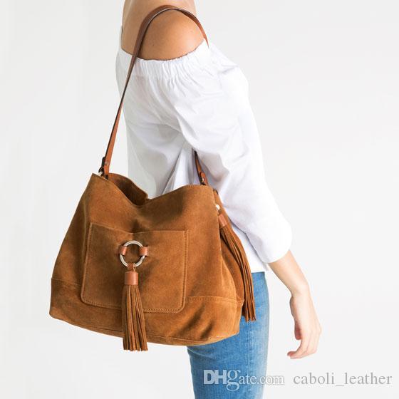 Guangzhou Factory 2018 New Custom Suede Leather Bag Suede Handbags ... a5311958725a3
