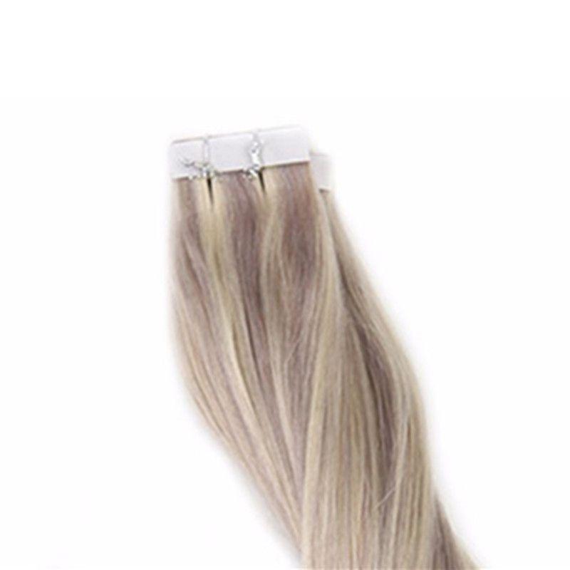 Cilt Atkı İnsan Saç Bant Sarışın Uzantıları Piyano Renk # 18/22 20 adet 40 adet 50g 100g 100% Gerçek Remy Saç Bant Uzantıları Üzerinde