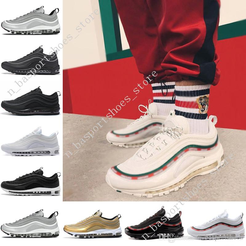 2019 Hot 97s Swarovski Casaul Running Shoes Top Quality 97 OG QS Metallic  Gold Silver Bullet Triple Black ALL White 3M PRM Outdoor Sports Shoes From  ... 91ebb64aa6