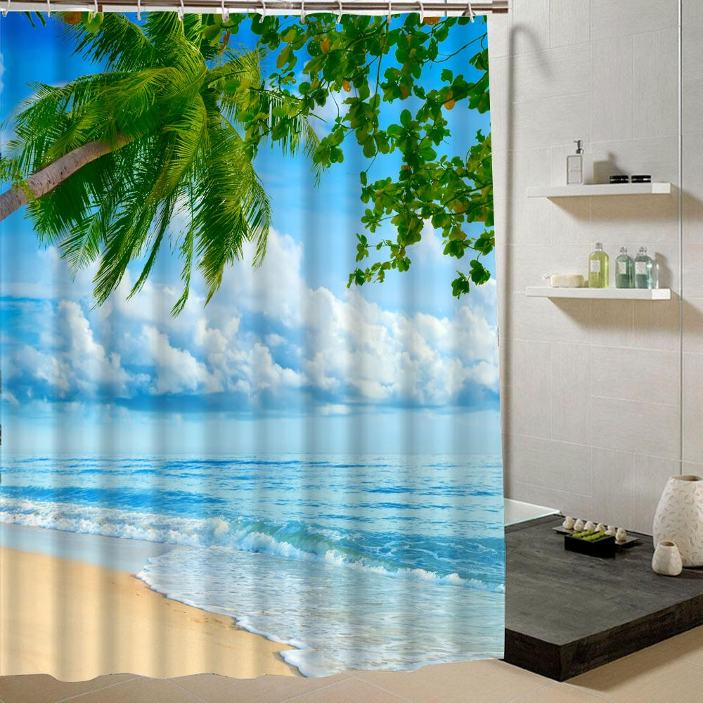 2019 Wholesale Beach Shower Curtain Palm Tree Summer Pattern Fabric Design 3d Bathroom Waterproof Blue Green From Lantor 2652