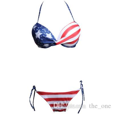 Nuove donne Sexy Bikini Set Bandiere americane Stampa Briefs a righe rosse Blue Stars Bra Bere costume intero Independence Day Summer Beachwear