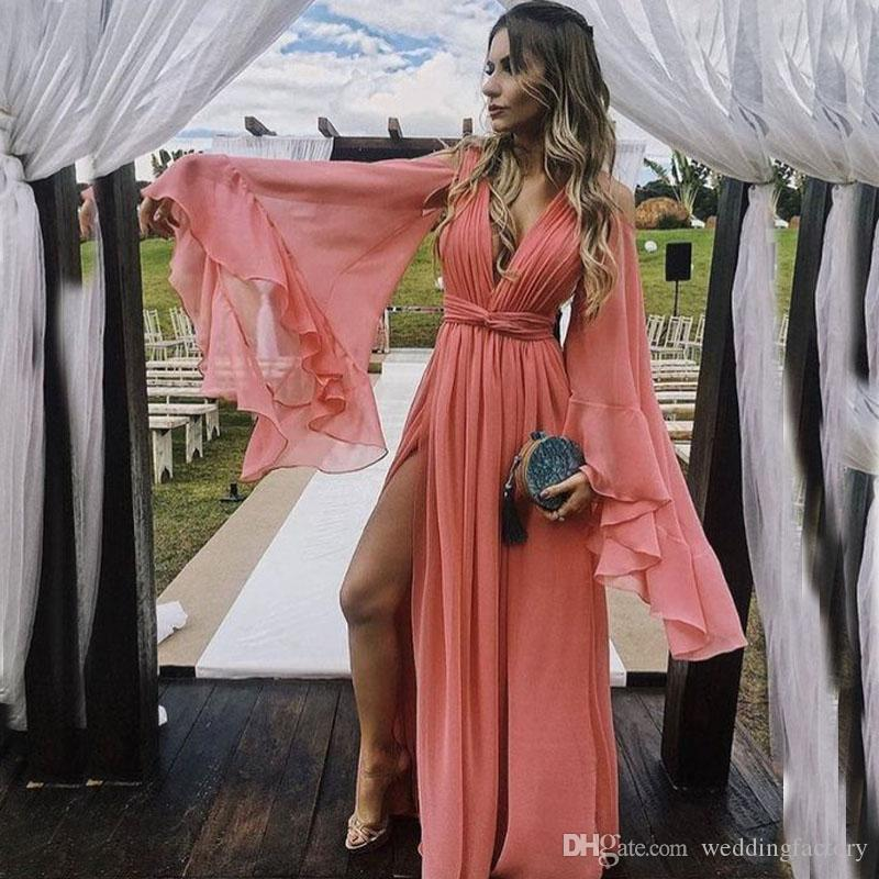 fea2b40acb7c 2019 Charming Coral Prom Dresses Long Deep V Neck Bell Sleeves Ruffles  Ruched Pleated Chiffon Sexy High Split Backless Evening Gowns Short Prom  Dresses ...