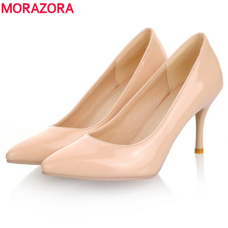 4a8c1eb7655a 2019 MORAZORA Big Size 34 45 2018 New Fashion High Heels Women Pumps Thin  Heel Classic White Red Nede Beige Sexy Prom Wedding Shoes Dress Men Sandals  Best ...