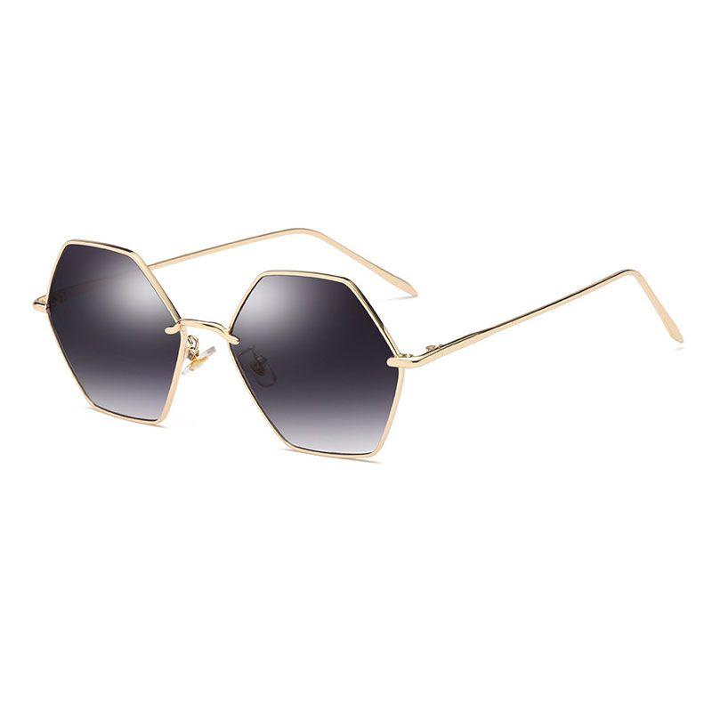 0fc3c699f4f19 2018 Polygonal Sunglasses Women Glasses Lady Luxury Retro Metal Sun ...