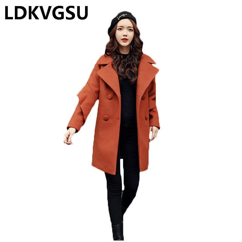 Satın Al 2018 Yeni Sonbahar Kış Kadın Kore Katı Renk Yün Coat Büyük Boy  Yaka Uzun Kruvaze Yün Ceket Kadın Is789 1788a8cd8a8