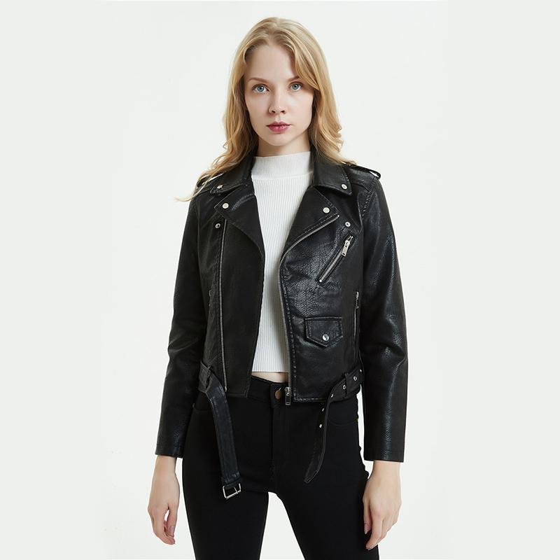 4b2373a2c Large Size Pu Leather Jacket Women Bright Colors Black Motorcycle Coat  Short Faux Leather Biker Jacket Soft Female