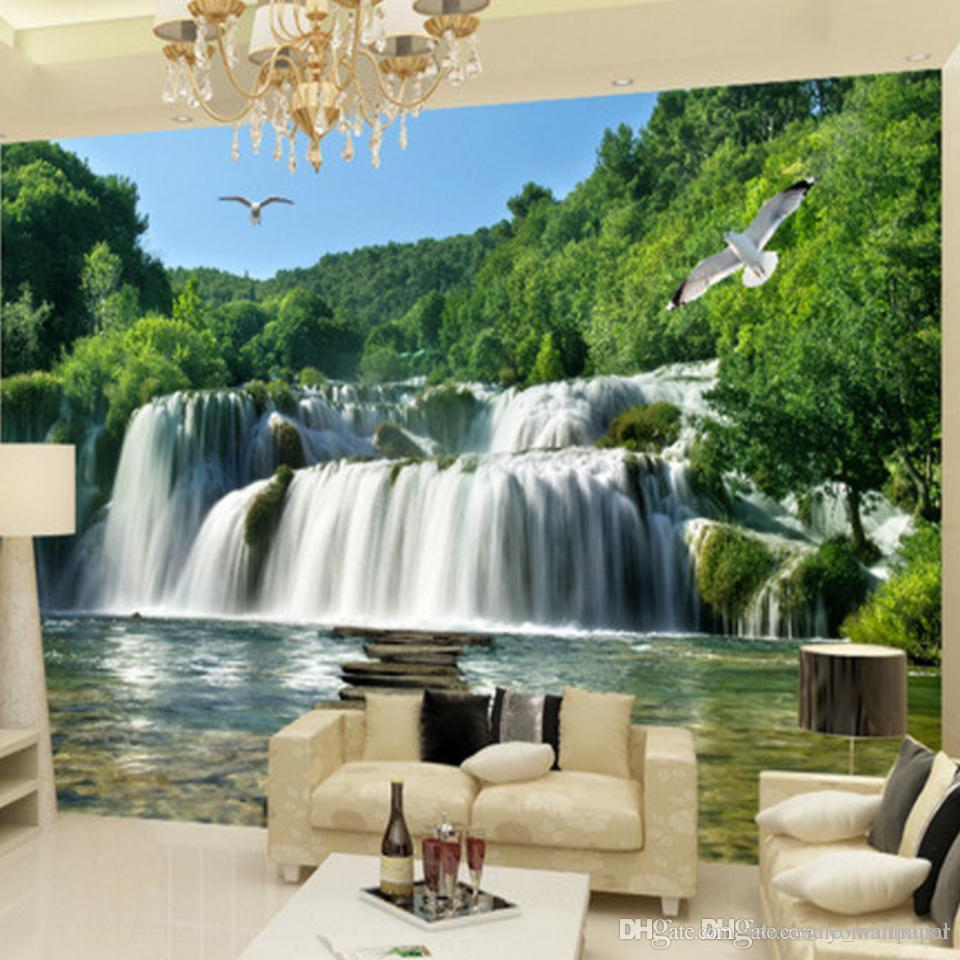 Custome Photo 3D Wall Mural Landscape Waterfall Sofa TV Background Home Decor 3d Wallpaper For Living Room Wholesale Free Hd