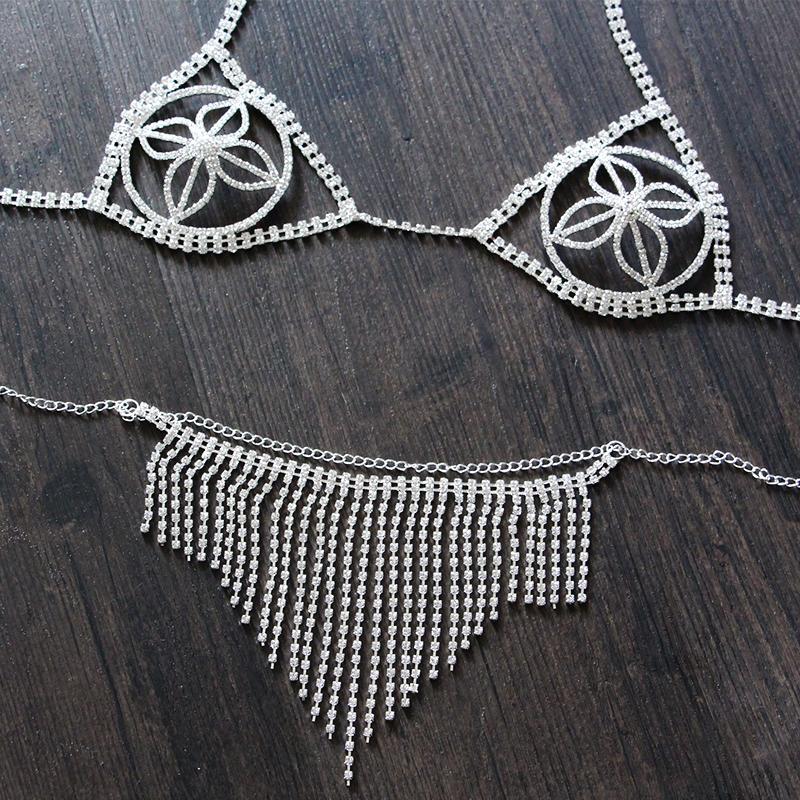 e514b76799 Wholesale Body Chain Bra HIMSTORY Sparking Sexy Rhinestone Lingerie Bra  With Chain Skirt Set Silver Plated Body Jewelry Bikini Set Wholesale Jewelry  Name ...