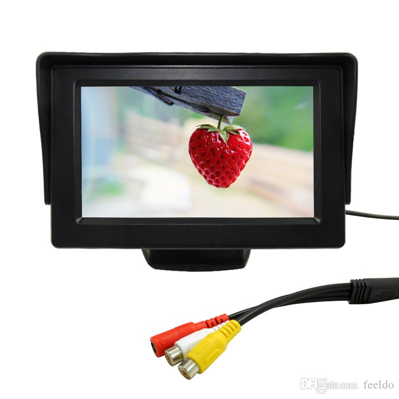 FEELDO voiture 4.3inch LCD Monitor 6-capteur radar 4-LED CCD double caméra visuelle Rearview vidéo Parking Sensor System # 1 013