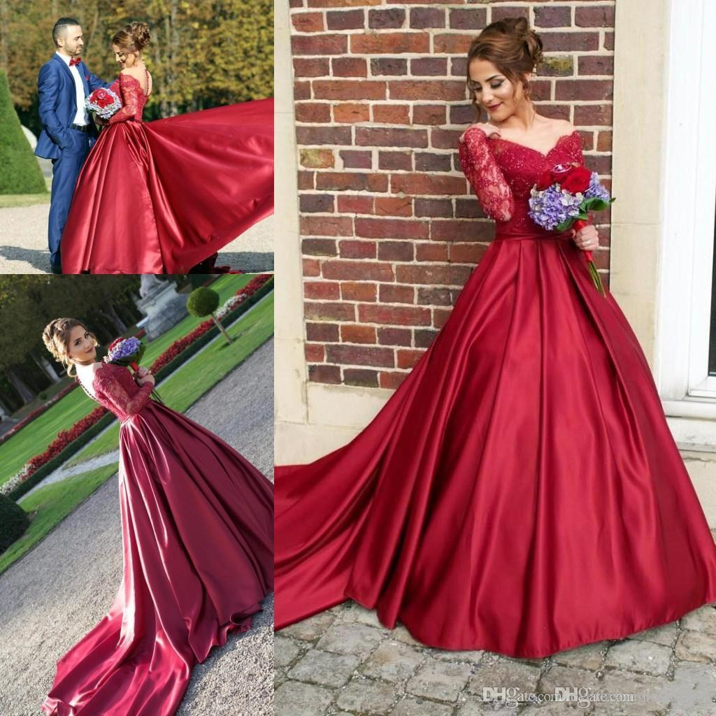 V Neck Satin Lace Scalloped Red Ball Gown Evening Dresses With Long Sleeves Elegant Prom Gowns In Color