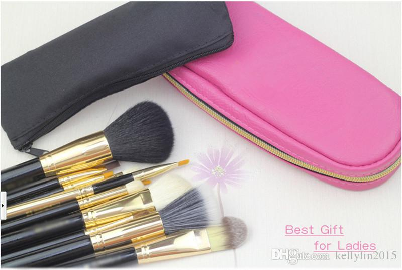 Makeup Brush Set with Zipper Bag Professional Cosmetic Tools Black Gold Face Foundation Powder Best Make Up Brushes Sets Kit