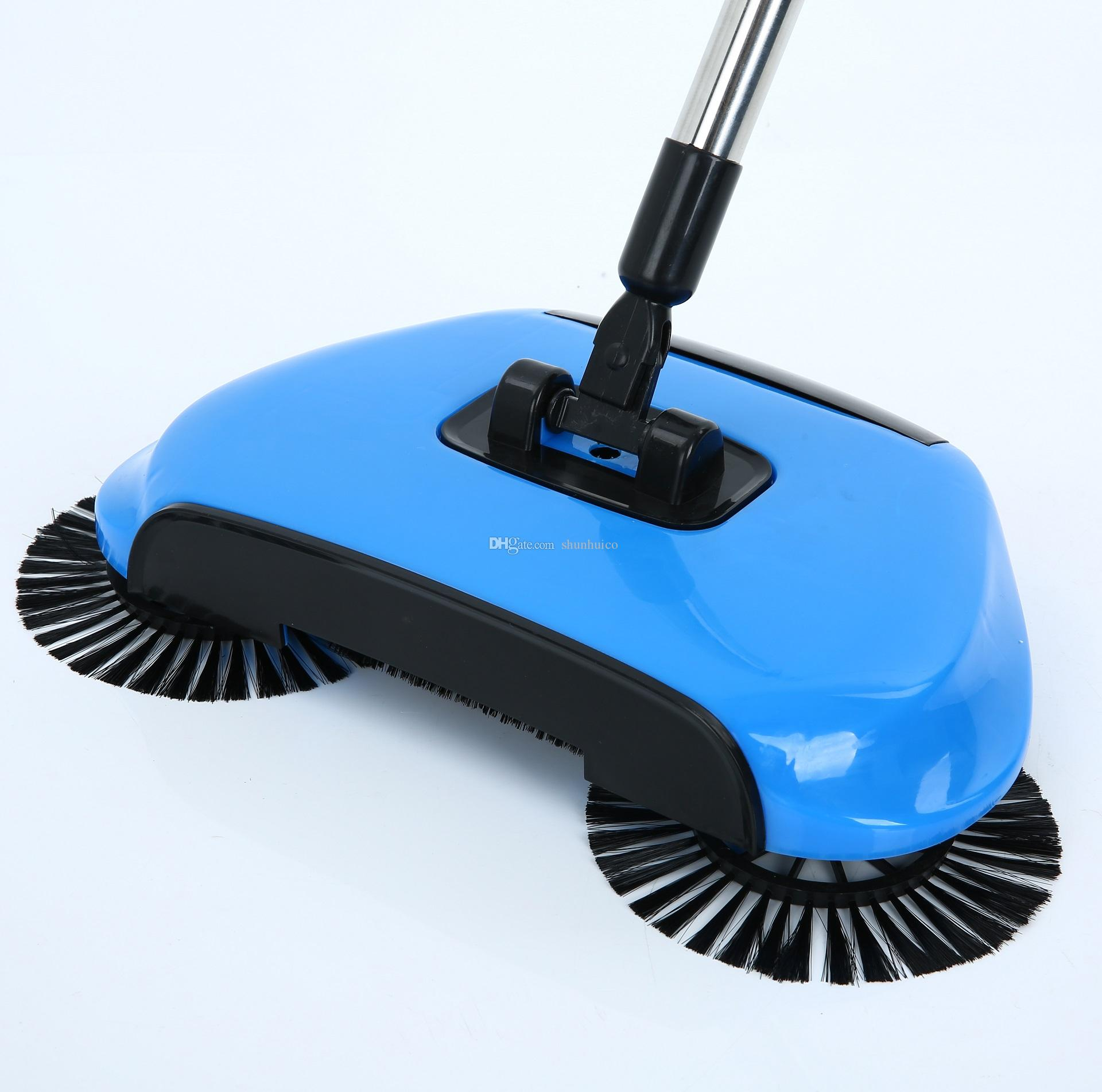 3 in 1 magic broom hand push sweeper 360 degree rotate spin broom stainless steel pole dustpan practical household cleaning tools