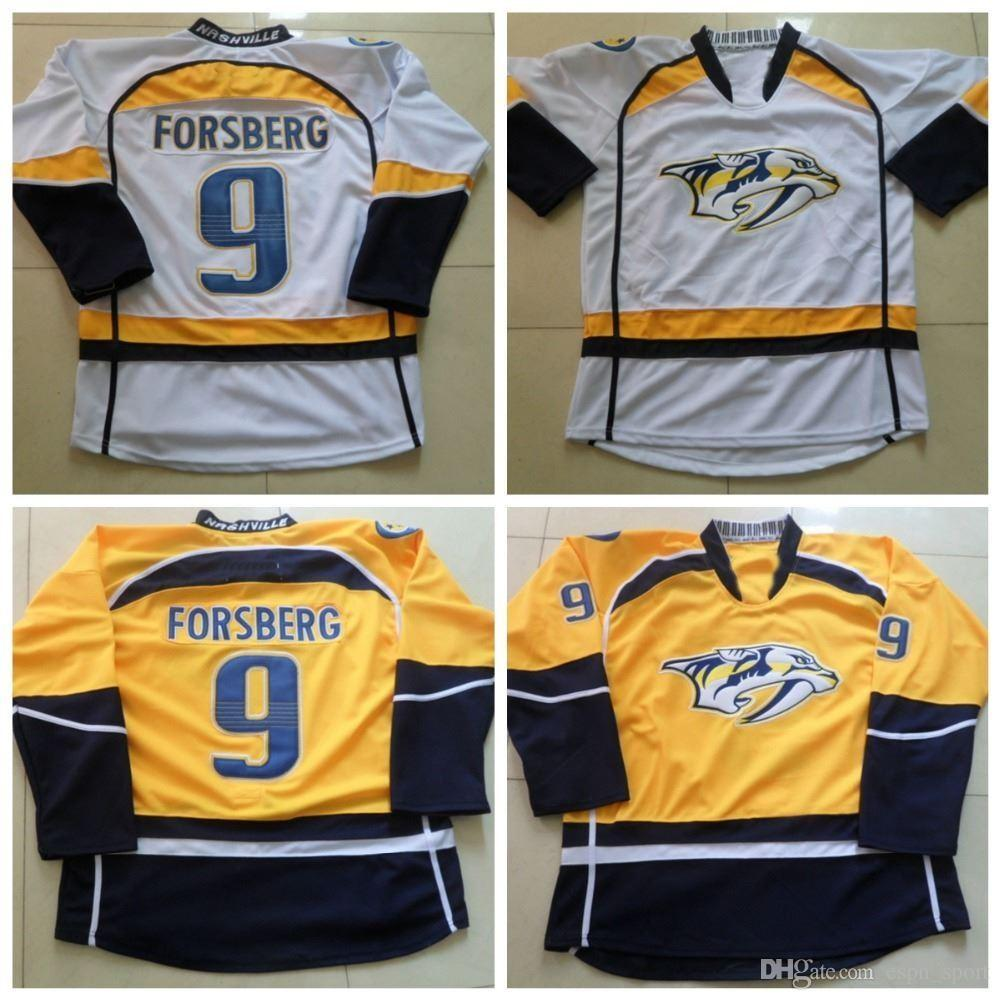 new products 630a7 6b021 Factory Outlet, Cheap Filip Forsberg Jersey #9 Nashville Predators Hockey  Jersey Home Yellow Road White Filip Forsberg Hockey Jersey Top