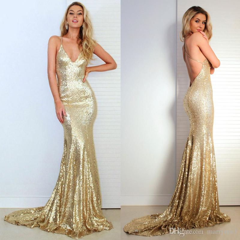 Gold Sequined Mermaid Prom Dresses 2018 Dresses Deep V Neck ...