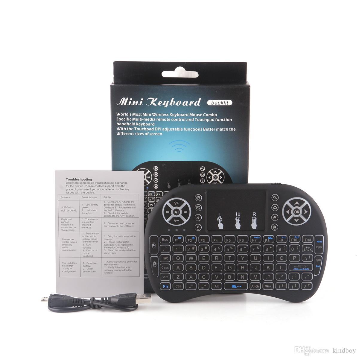 Mini i8 Teclado Sem Fio Retroiluminação Retroiluminado 2.4G Air Mouse Teclado Touchpad Controle Remoto para Smart Android TV Box Notebook Tablet Pc
