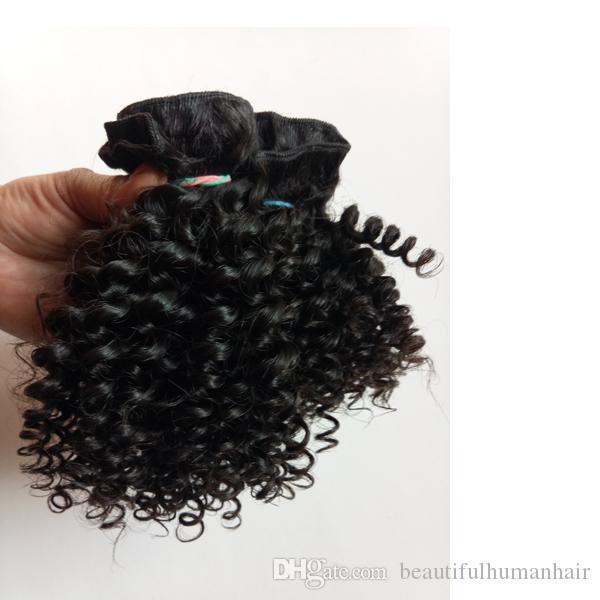 Afrikanische schwarze Frau beliebt brasilianische europäische Jungfrau menschliches Haar 8-26 Zoll verworrenes lockiges Haar Schuss mongolischen indischen Remy Haarverlängerung