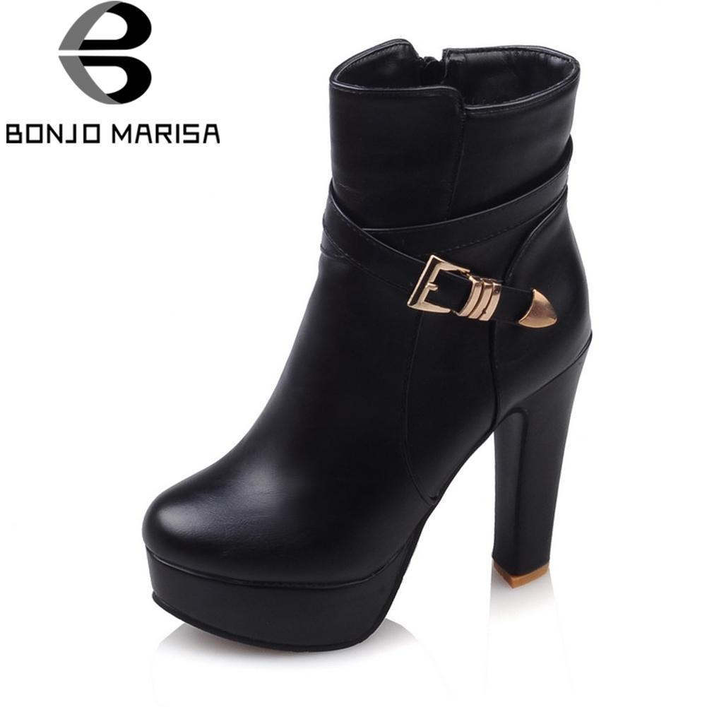 4bddc45b914 BONJOMARISA Large Size 33-43 Black Platform Ankle Boots Women Autumn 2018  Elegant High Heels Shoes Woman 12 Cm Buckle Footwear