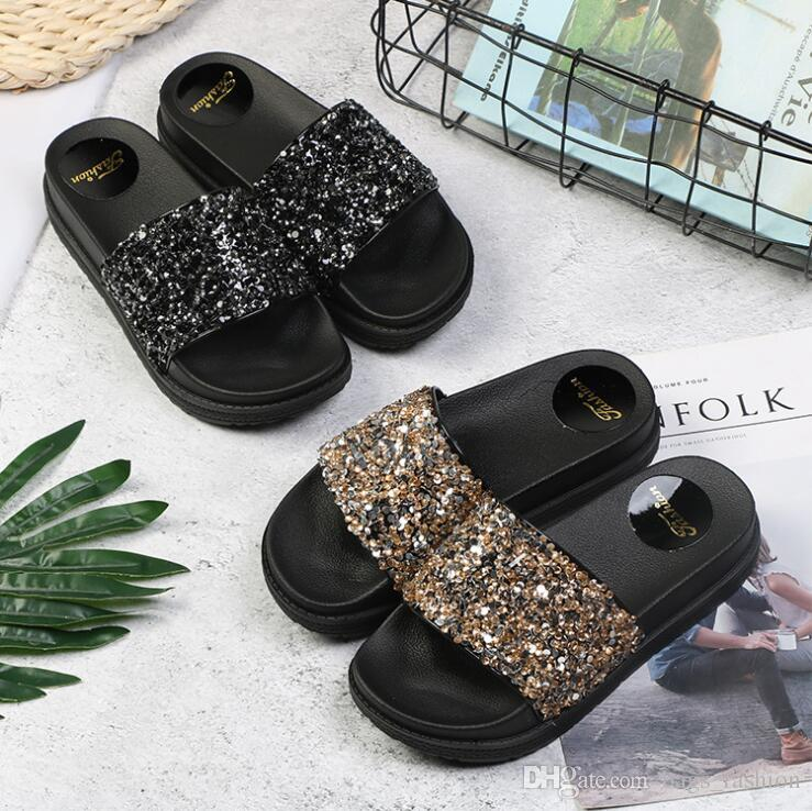 8cf9a8248ed9a7 Fashion Women Flat Slippers Casual Flats Shoes Beach Slipper Bling Sequined  Cloth Slip On Slides Platform Flip Flops Womens Loafers Fashion Shoes From  ...