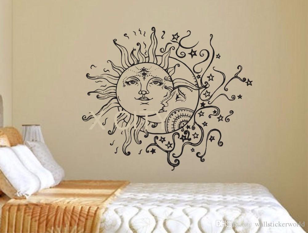 Sun Moon Stars Ethnic Decor Bohemian Boho Wall Art Decal Sticker Removable Vinyl Cut Transfer Stencil Mural Home Room