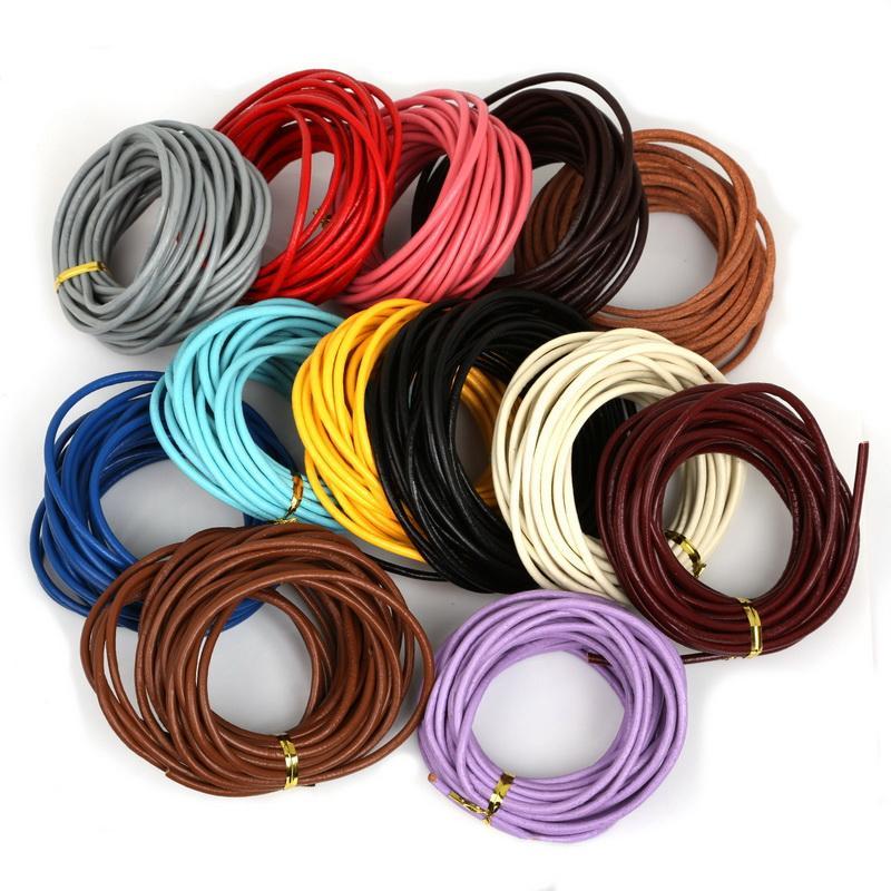 9a6de364d169 Compre 3mm 5m Color Múltiples Cordones De Cuero Genuino Joyería Abalorios  Cuerda Cuerda Cuerda Para Hacer Collar De Pulsera A  34.88 Del Freea