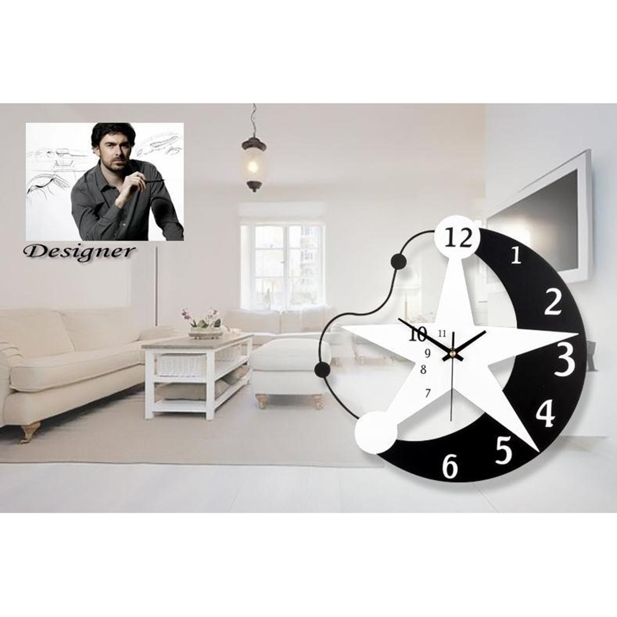 Silent Wall Clock Moon Stars Wall Clock Black White Wooden Modern