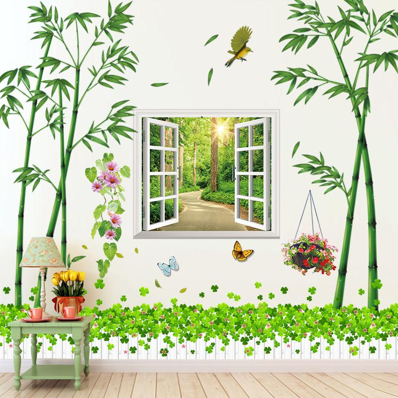 [SHIJUEHEZI] Green Bamboo Wall Stickers PVC Material Window Scenery Wall Art Grass Baseboard Sticker for Living Room Decoration