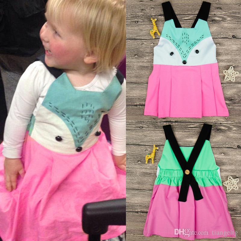 73f409aa7 2019 Baby Girls Fox Dresses Cartoon Vest Backless Elastic Patchwork ...
