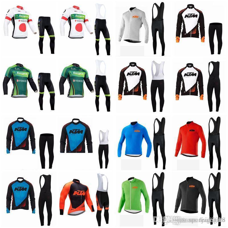 Europcar Ktm Team Cycling Long Sleeves Jersey Bib Pants Sets Outdoor