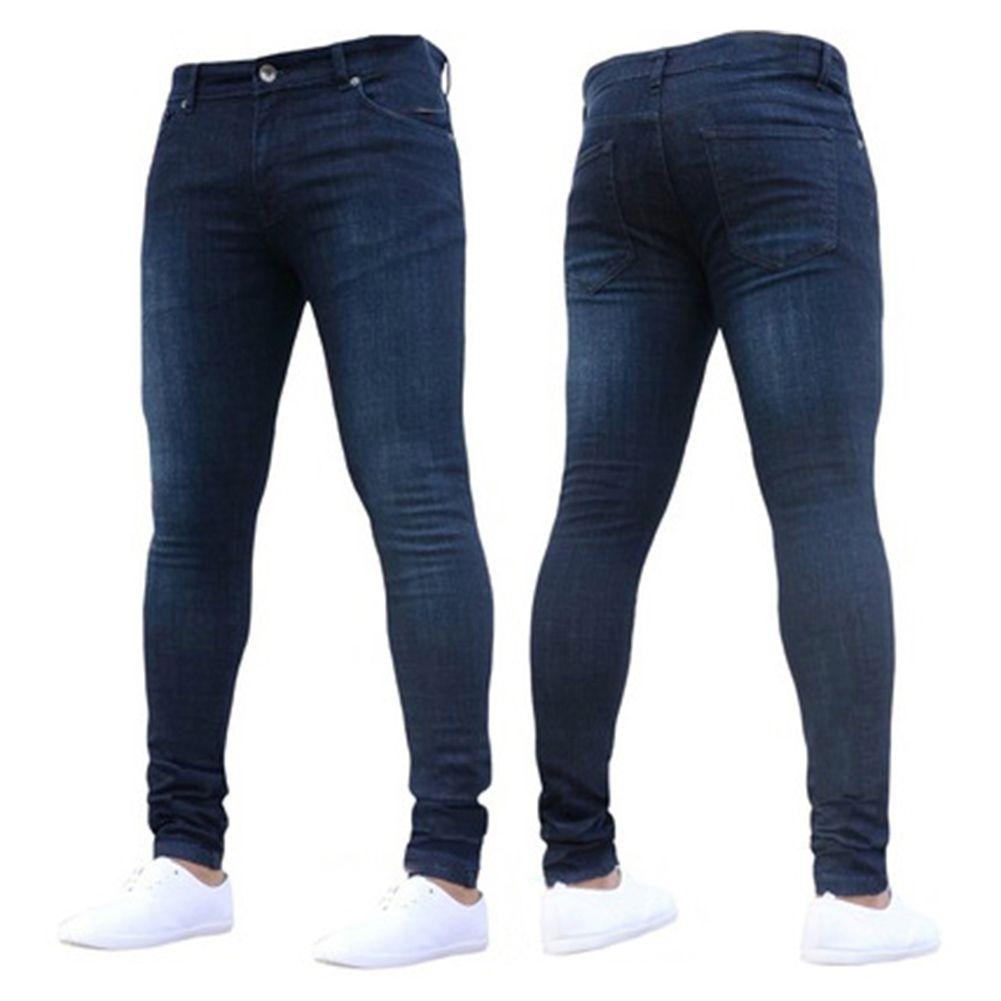 367e386e44 Compre 2017 Mens Jeans Nueva Moda Hombres Casual Jeans Slim Rectos De Alta  Elasticidad Pies Cintura Pantalones Largos Venta Caliente A  26.83 Del  Rebecco ...
