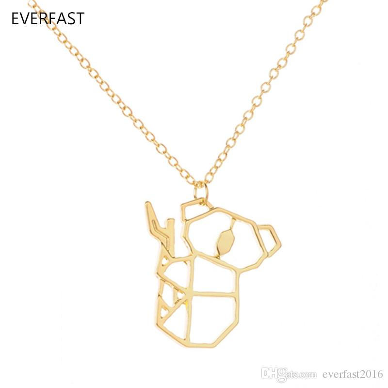 Everfast New Fashion Cute Origami Koala Bear Animal Accessories Pendant Necklace Hollow Animal Necklaces Women Charm Ornaments EFN020-A