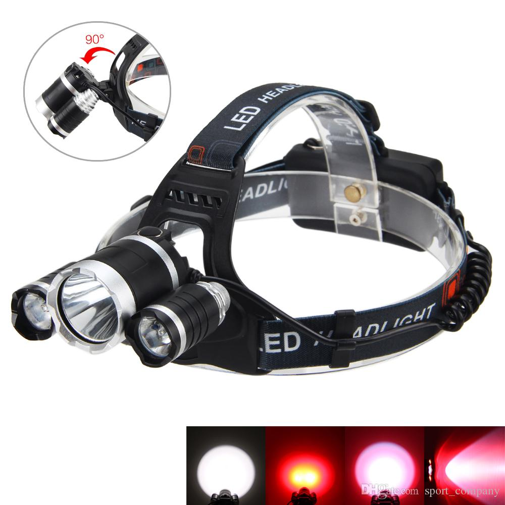 1200 LM T6 +2x Red R5 USB Rechargeable LED Headlamp 3 Modes Lighting Headlight Waterproof Head Torch Light for Camping Hunting