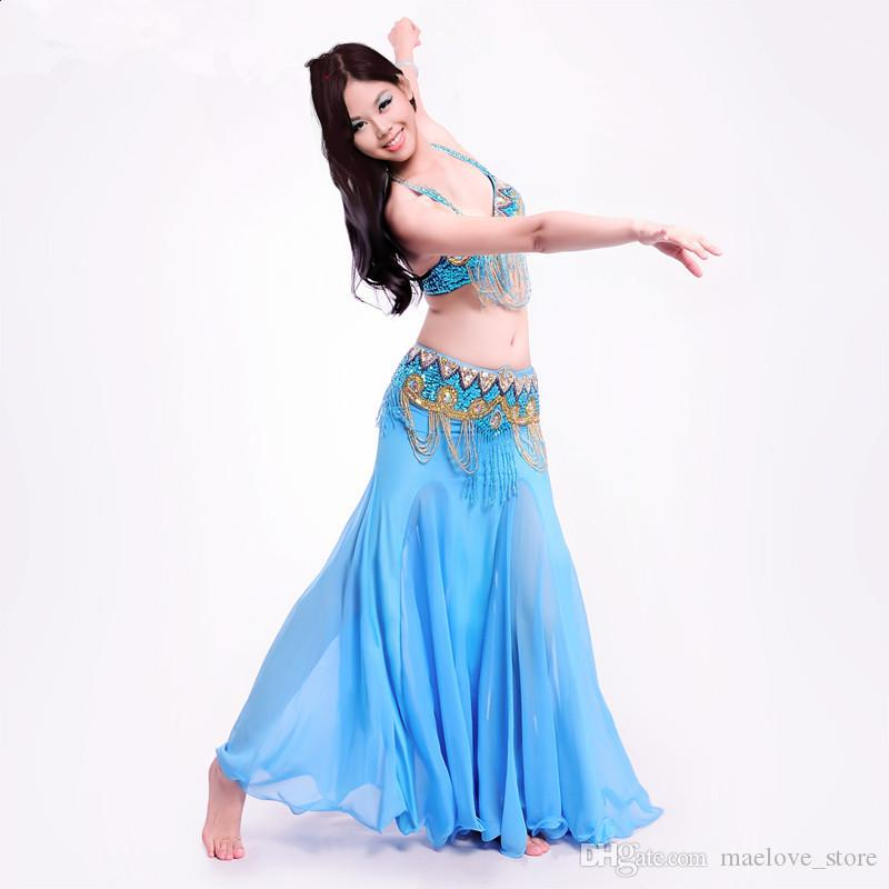Stage Performance Oriental Belly Dancing Clothes 3-piece Suit Bead Bra&belt & Skirt Belly Dance Costume Set M005