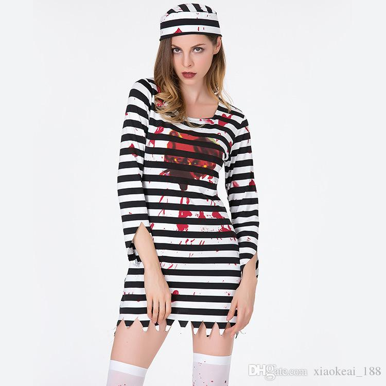 new prisoner cosplay dress halloween costumes game uniform set horror zombie prisoner black and white stripes short skirt halloween costumes for six people